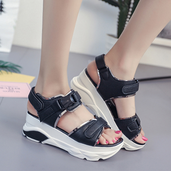 Thick Bottom High Quality Black Sandals For Women