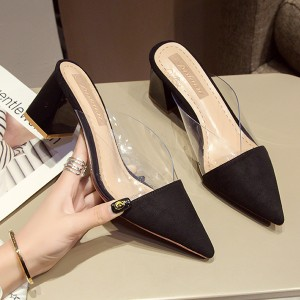Pointed Jelly Covered Thick Heel Party Sandals - Black
