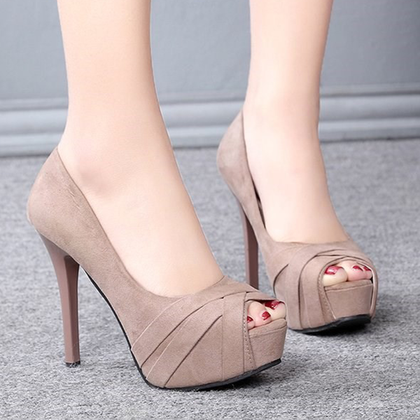 Fish Mouth Formal High Heels Sandals - Khaki