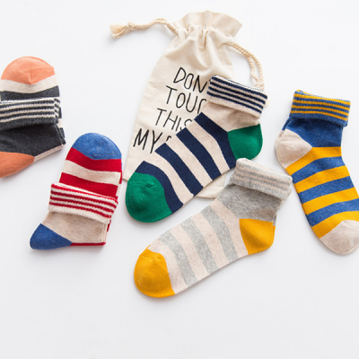 Striped Colorful Casual Five Pieces Socks Set