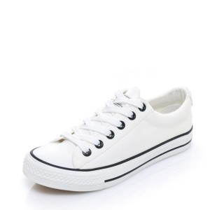White Laces Flat Casual Canvas Shoes