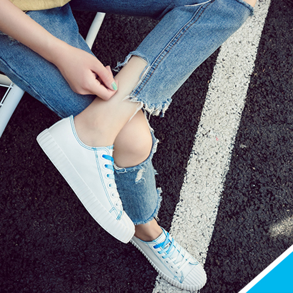 Blue Contrast White Casual College Shoes