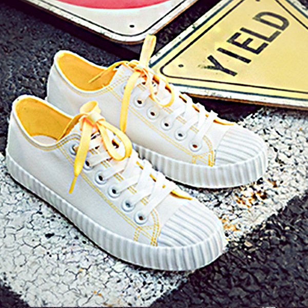 Yellow Contrast White Casual College Shoes