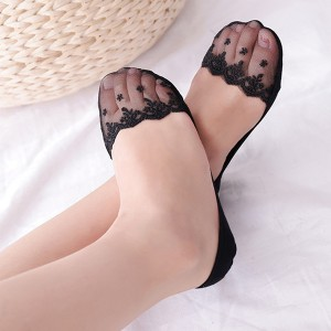 Floral Textured Stretchable Fancy Lace Socks - Black
