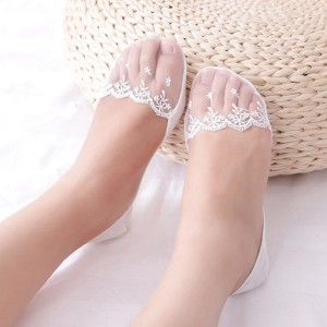 Floral Textured Stretchable Fancy Lace Socks - White