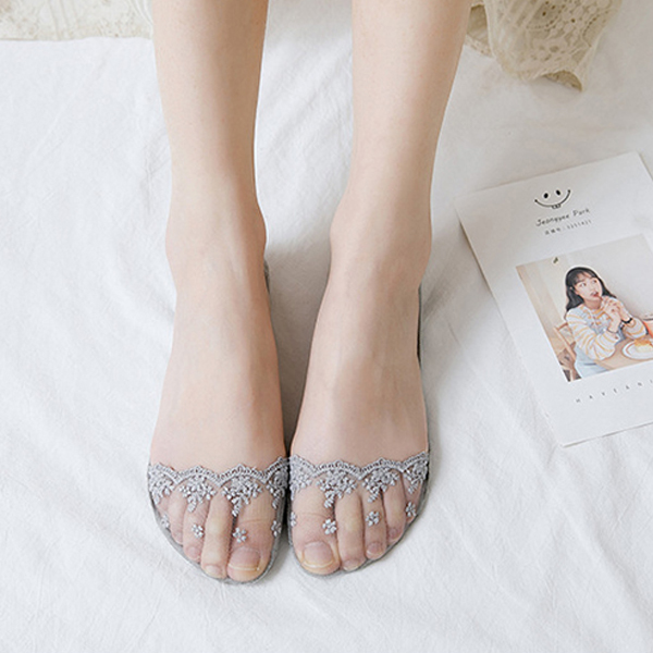Floral Textured Stretchable Fancy Lace Socks - Grey