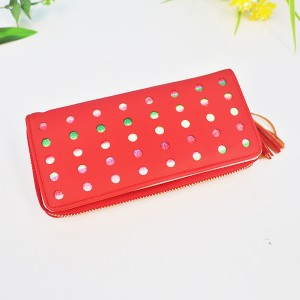 Hollow Round Patched Colorful Money Wallet - Red