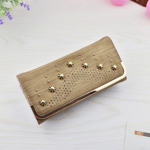 Mesh Pattern Hollow Rivets Money Wrist-let Wallet - Khaki