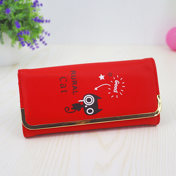 Cat Prints High Quality Money Wallet - Red