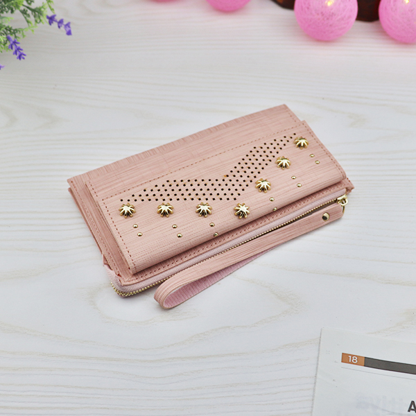 Hollow Floral Rivets Mesh Texture Money Wallet - Light Pink