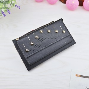 Hollow Floral Rivets Mesh Texture Money Wallet - Black