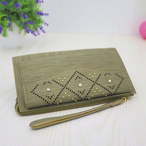 Hollow Rivets Mesh Pattern Money Wristlet - Green
