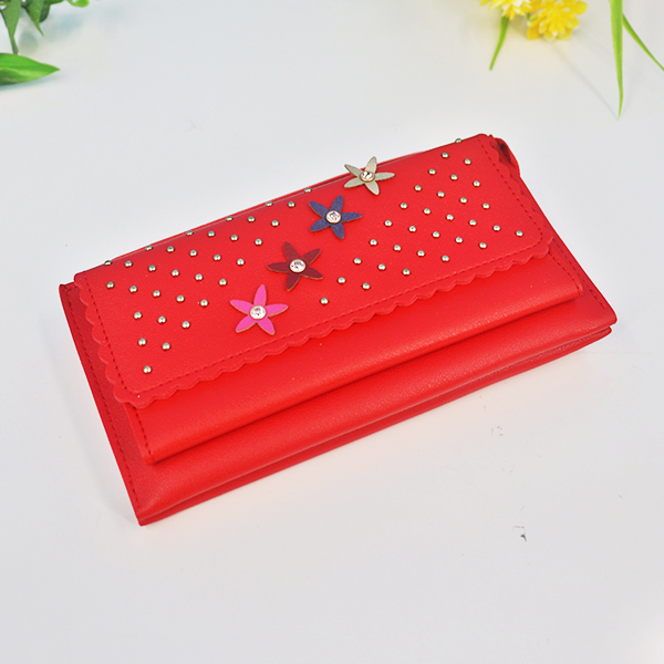 Zipper Closure Floral Synthetic Leather Wrist-let - Red