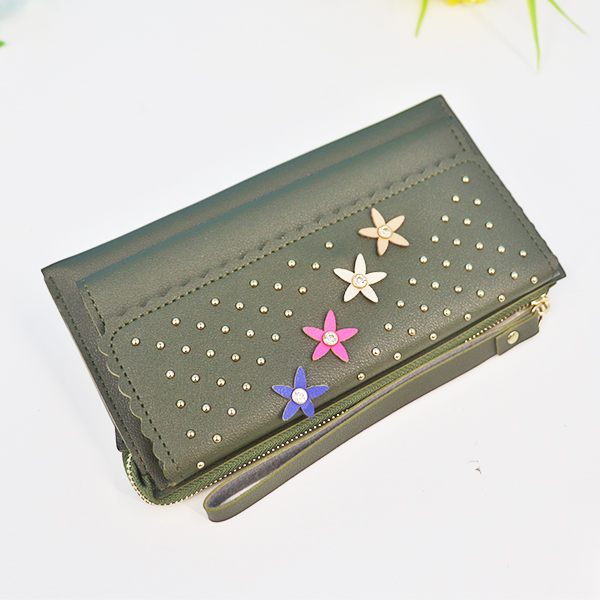 Zipper Closure Floral Synthetic Leather Wrist-let - Green