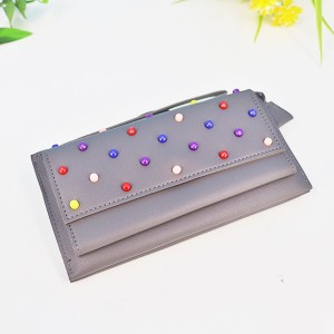 Colorful Beads Patch Synthetic Leather Wallet - Grey