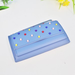 Colorful Beads Patch Synthetic Leather Wallet - Blue