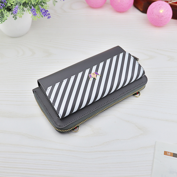 Crown Striped Zipper Magnetic Lock Money Wallet - Grey