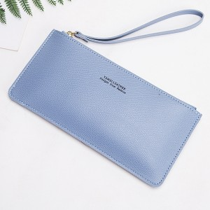 Handy PU Leather Zipper Closure Wristlet - Blue