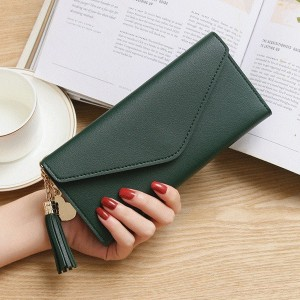 Synthetic Leather Formal Card And Money Wallet - Green