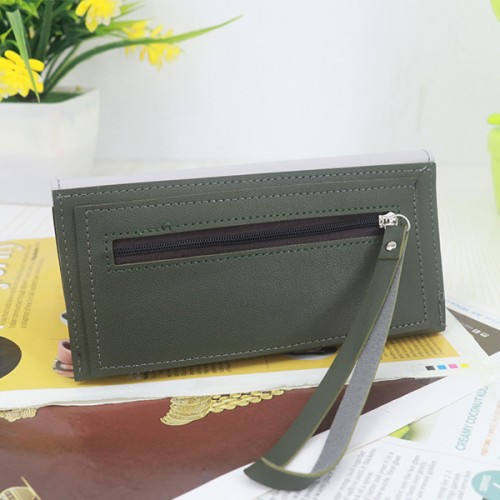 Magnetic Closure PU Leather Wristlet Wallets - Green