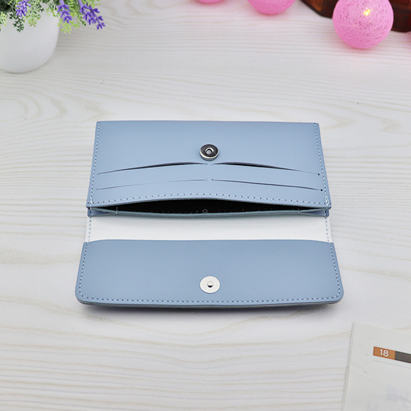 Hearts Cut Out Magnetic Flap Money Wallet - Sky Blue