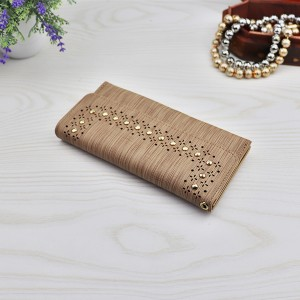 Rivets Decorative Hollow Pattern Money Wallet - Khaki