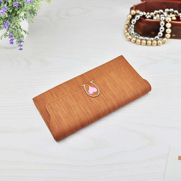 Heart Decorative Envelope Cute Money Wallet - Brown