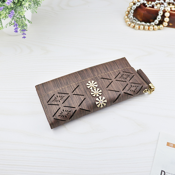 Flower Cut Out Hollow Money Wallet - Coffee