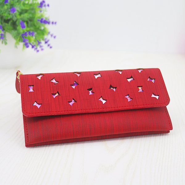 Holographic Mesh Pattern Magnetic Money Wristlet - Red