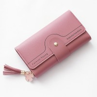 Tassel Zipper Closure Foldable Money Wallet - Rose Pink