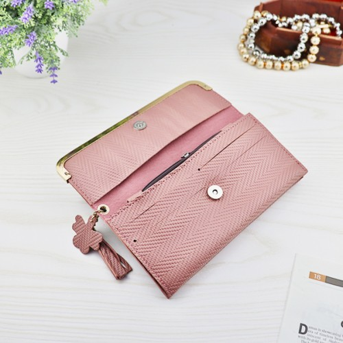 Bohemian Geometric Pattern Tassel Money Wallet - Pink