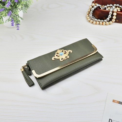 Bohemian Geometric Pattern Tassel Money Wallet - Green