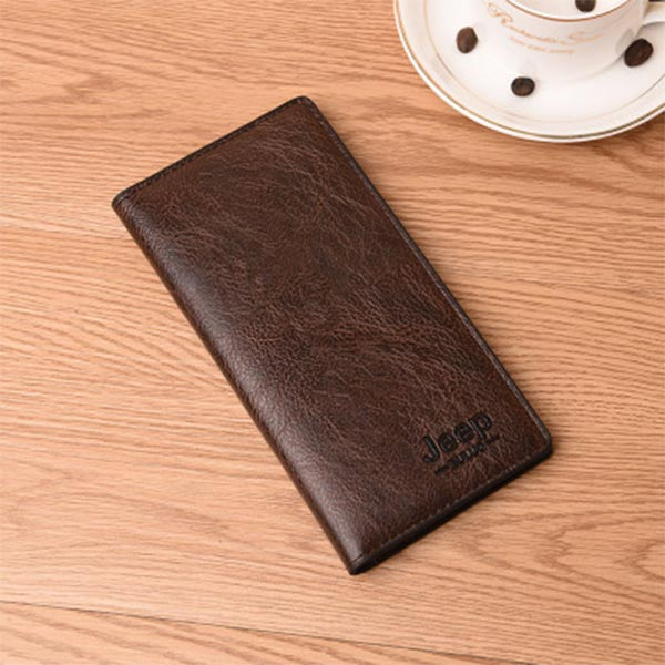 Flip Pu Leather Multi Pockets Solid Hand Wallets - Coffee