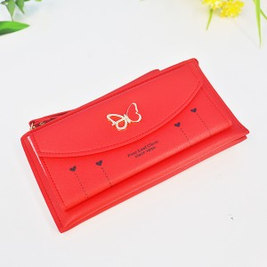 Butterfly Cute Card And Money PU Wallet - Red