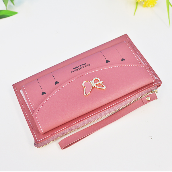 Butterfly Cute Card And Money PU Wallet - Rose Pink