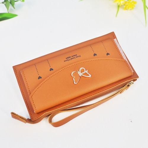 Butterfly Cute Card And Money PU Wallet - Brown