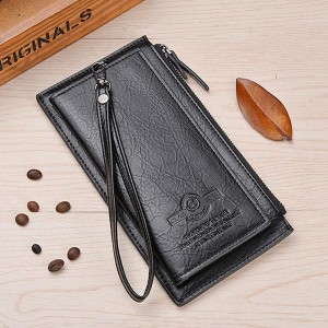 Letter Pattern Pu Leather Solid Hand Wallet - Black