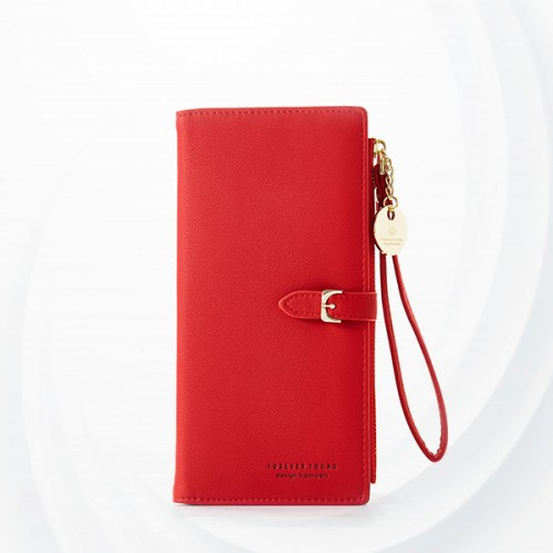 Zipper Closure Foldable Female Money Wallets - Red