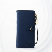 Zipper Closure Foldable Female Money Wallets - Blue
