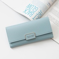 Button Closure Foldable Casual Multi Pockets Wallet - Blue