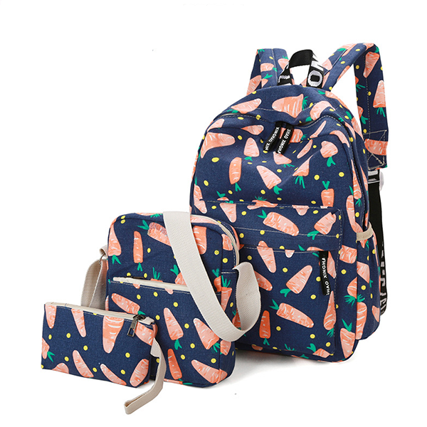 Stars Printed Three Pieces Backpacks Set - Blue