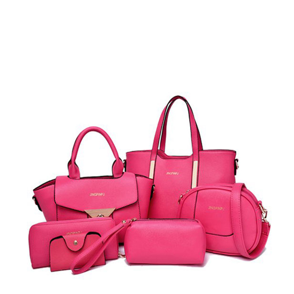 Six Pieces in 1 Set  Simple Female Messenger Handbags Set Pink