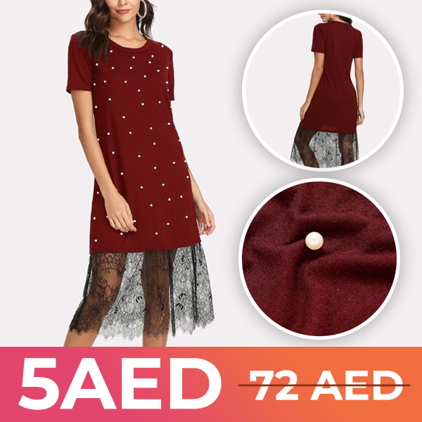 Pearls Decorated Lace Patched Midi Dress - Burgundy