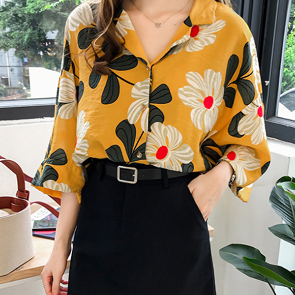 Floral Prints Loose V Neck Shirt - Yellow