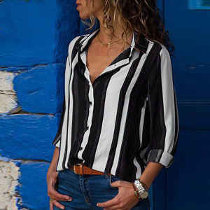Stripes Multicolor Full Sleeves Casual Shirt - Black
