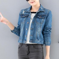 Denim Polo Collar Long Sleeve Slim Jeans Jackets - Blue