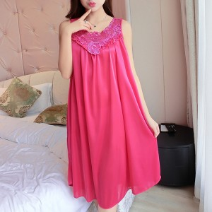 Lace Floral Texture Silk Summer Wear Nighty Hot  Pink