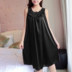 Lace Floral Texture Silk Summer Wear Nighty - Black
