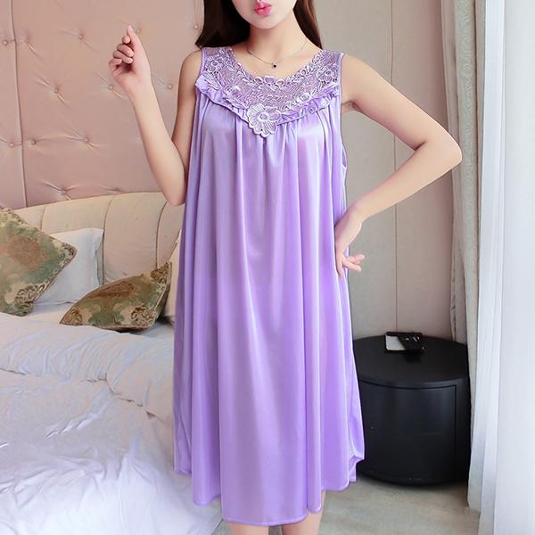 Lace Floral Texture Silk Summer Wear Nighty - Purple