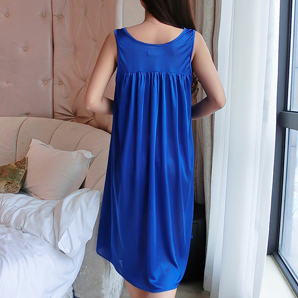 Lace Floral Texture Silk Summer Wear Nighty - Blue